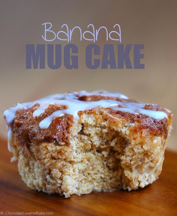Banana Mug Cake - 1 tbsp mashed banana, 1/4 tsp vanilla extract, 1/4 tsp baking powder, pinch cinnamon, 3 tbsp... Full recipe: https://chocolatecoveredkatie.com/2015/01/13/low-fat-banana-breakfast-cake-mug/ @choccoveredkt