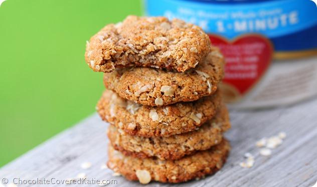 Oat Cookies: https://chocolatecoveredkatie.com/2014/05/14/almond-butter-cookies/