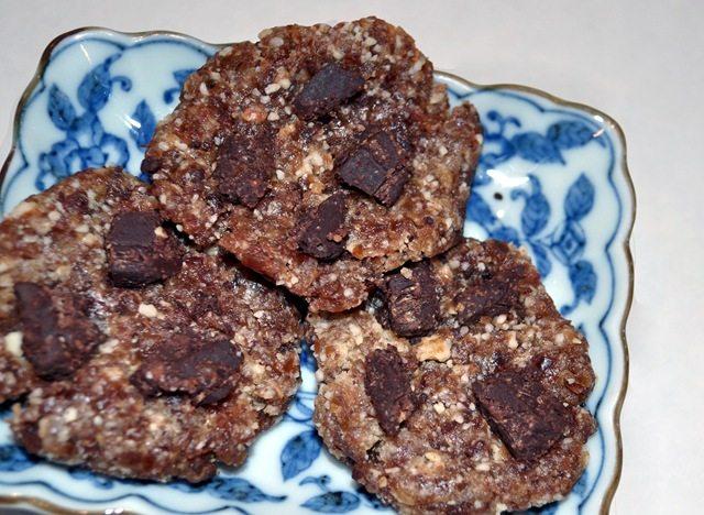 Raw chocolate chip cookies