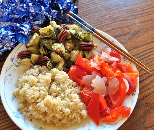 candied veggies and bulgur pilaf