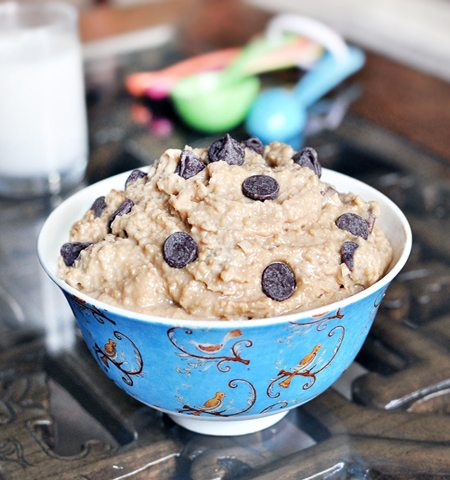 Healthy Cookie Dough Dip - I tried this and was shocked... it really does taste exactly like real cookie dough! (Repinned over 350k times) http://chocolatecoveredkatie.com/2011/05/23/want-to-eat-an-entire-bowl-of-cookie-dough/ @choccoveredkt