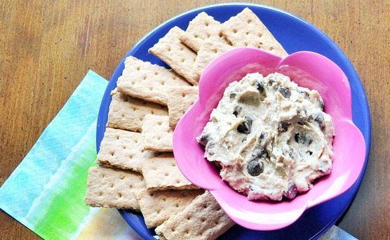 Cookie Dough Dip on Graham Cracker