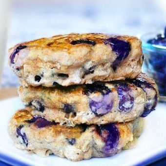 Blueberry Pie Pancakes - SUPER ginormous fluffy blueberry pancakes recipe... with over 200 positive reader reviews - from @choccoveredkt: https://chocolatecoveredkatie.com/2011/06/09/blueberry-pie-pancakes/