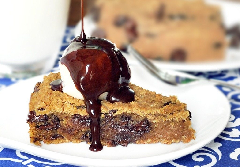 Deep Dish Cookie Pie - The secretly healthy recipe – with over 1,600 positive reader reviews. Everyone loves this pie! If you've never tried the recipe, it is highly recommended. Full recipe: http://chocolatecoveredkatie.com/2011/05/31/deep-dish-cookie-pie/