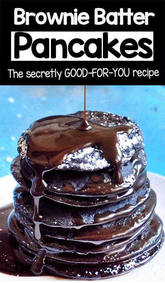 Healthy Breakfast Brownie Batter Pancakes