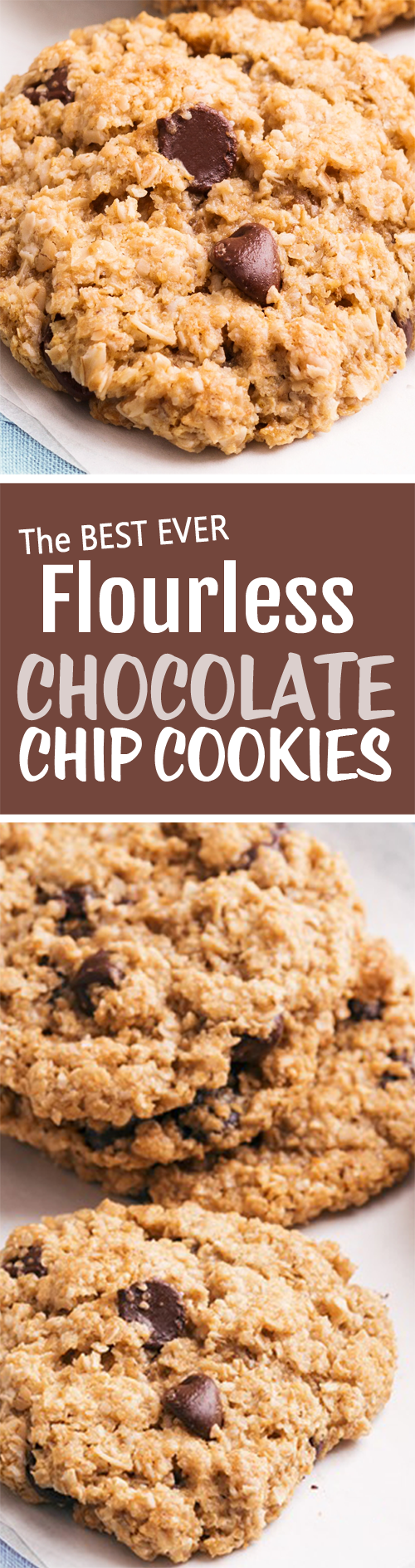 Flourless Chocolate Chip Cookies, with NO crazy ingredients, and they are vegan flourless chocolate chip cookies