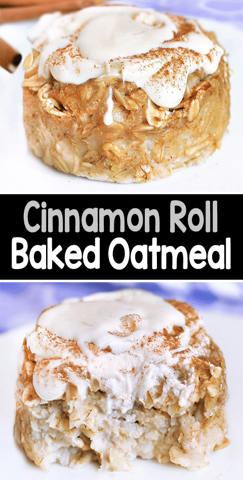 Secretly Healthy Cinnamon Roll Baked Oatmeal Recipe