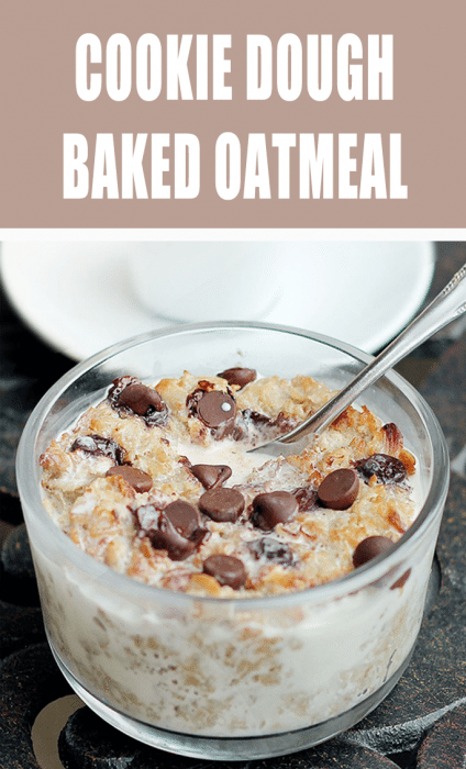 Cookie Dough Baked Oatmeal - baked in the oven until it's warm and gooey, with melty chocolate chips - @choccoveredkt - tasted like a Mounds bar for breakfast!!! http://chocolatecoveredkatie.com/2011/11/10/coconut-cookie-dough-oatmeal/