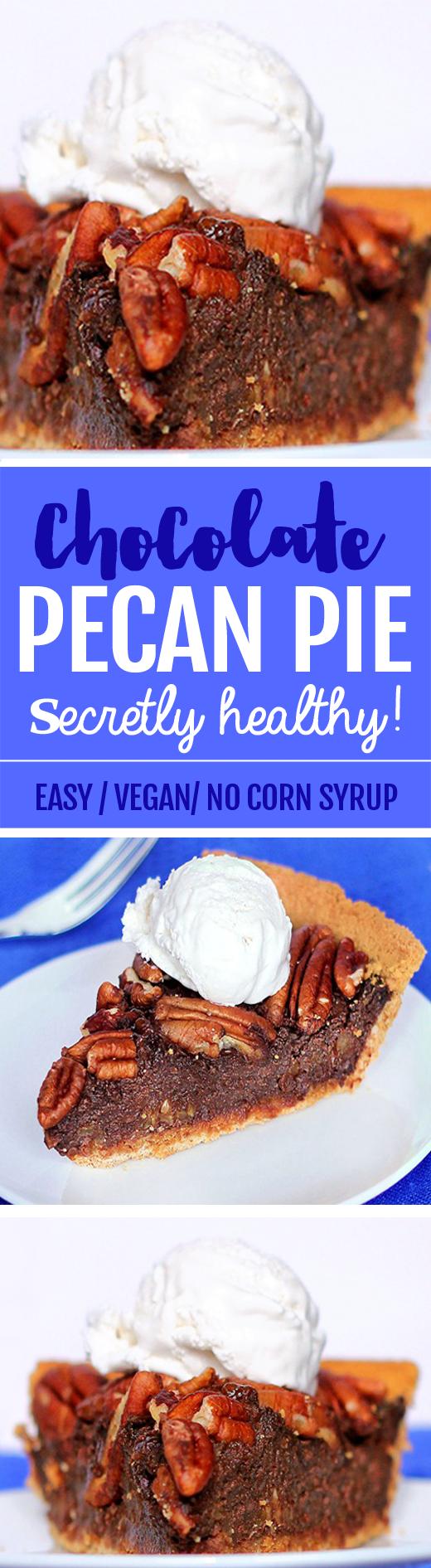 This healthy chocolate pecan pie is amazing! #vegan #dessert #chocolate #healthy #recipe