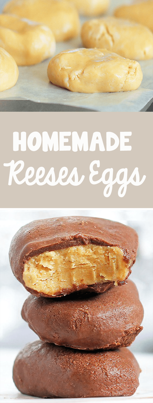 Just mix the ingredients, form shapes, and dip in chocolate. 5 minutes and you're done! @choccoveredkt... Full recipe: https://chocolatecoveredkatie.com/2012/03/29/copycat-recipe-reeses-peanut-butter-eggs/