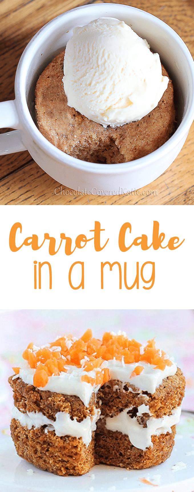 As seen on Buzzfeed - a single serving carrot cake mug cake / can be made in the microwave, & less than 150 calories. Full recipe: https://chocolatecoveredkatie.com/2012/04/03/five-minute-carrot-cake-for-one/ @choccoveredkt