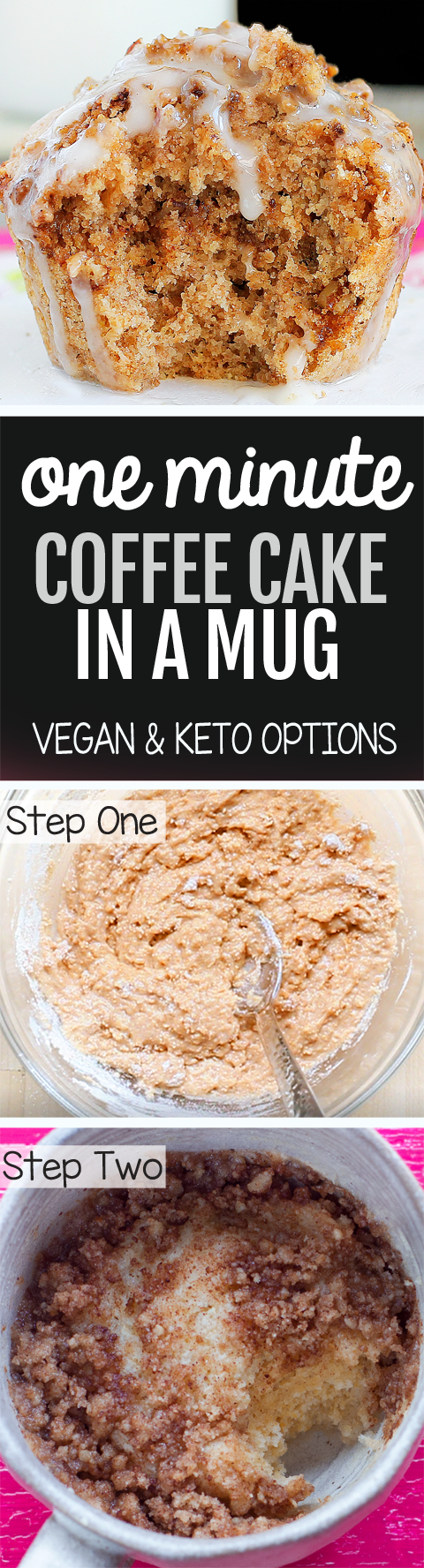 One Minute Coffee Mug Cake (Vegan, Keto Options)