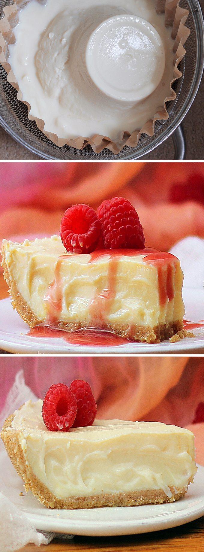 Greek Yogurt Cheesecake – Ingredients: 2 cups yogurt, 1/4 cup maple syrup, 1 tbsp lemon juice, pinch salt, 2/3 cup… Full recipe: http://choclatecoveredkatie.com @choccoveredkt