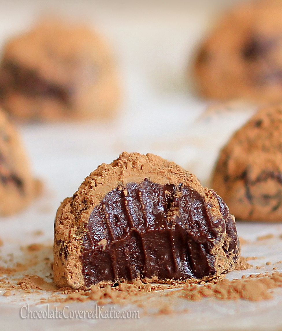 5 MINUTE Chocolate Truffles - Can be vegan ▪ low fat ▪ gluten free...from @choccoveredkt - http://chocolatecoveredkatie.com/2012/11/25/5-minute-microwave-chocolate-truffles/