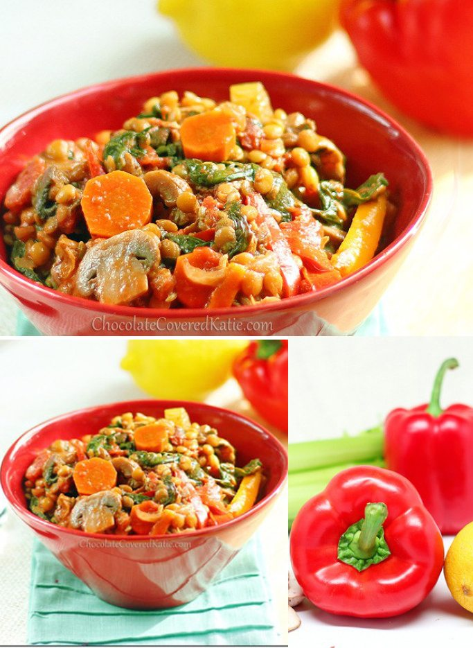 Try out a super healthy dinner - from @choccoveredkt… Delicious and hearty vegetable stew, bursting with essential vitamins, protein, fiber, and antioxidants. Makes a big batch, and leftovers freeze well. Full recipe: https://chocolatecoveredkatie.com/2013/01/04/1-million-vegetables-lentil-stew/