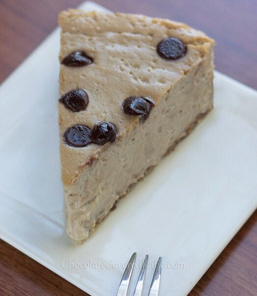 Cappuccino Cloud Cheesecake - Ultra creamy cheesecake MELTS in your mouth... The texture is amazing!!! - from @choccoveredkt: http://chocolatecoveredkatie.com/2013/04/11/secretly-healthy-cappuccino-cloud-cheesecake/