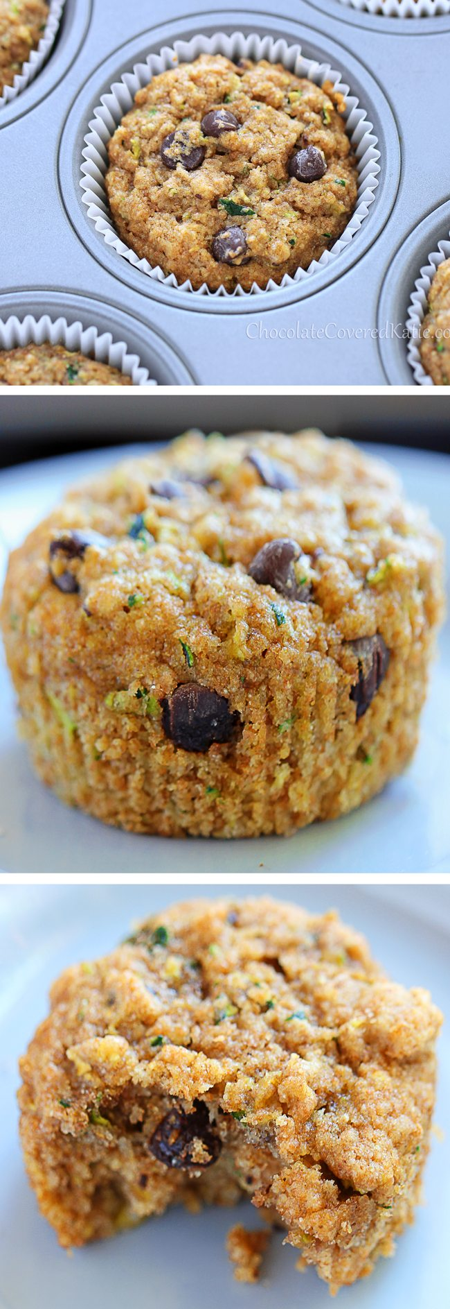 Zucchini Muffins – Ingredients: 1 cup grated zucchini, 1/2 cup chocolate chips, 1 tsp baking soda, 1 tsp vanilla extract, 3/4 cup… Full recipe: https://chocolatecoveredkatie.com/2013/04/25/chocolate-chip-zucchini-bread-muffins/ @choccoveredkt