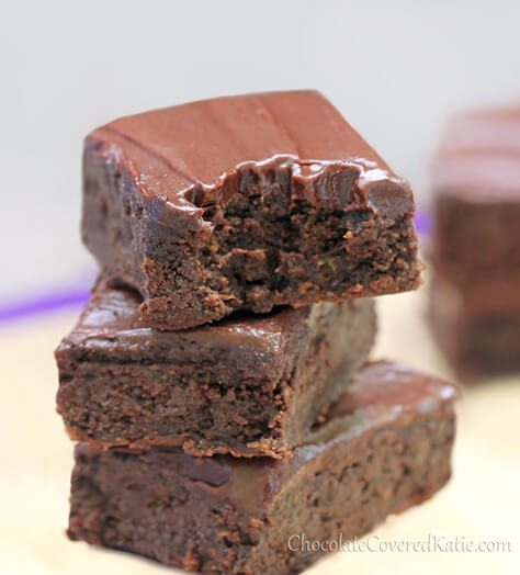 Rich, chocolatey, moist, fudgey brownies from @choccoveredkt with a secret ingredient – zucchini! The recipe is to die for! https://chocolatecoveredkatie.com/2013/05/31/healthy-chocolate-fudge-zucchini-brownies/