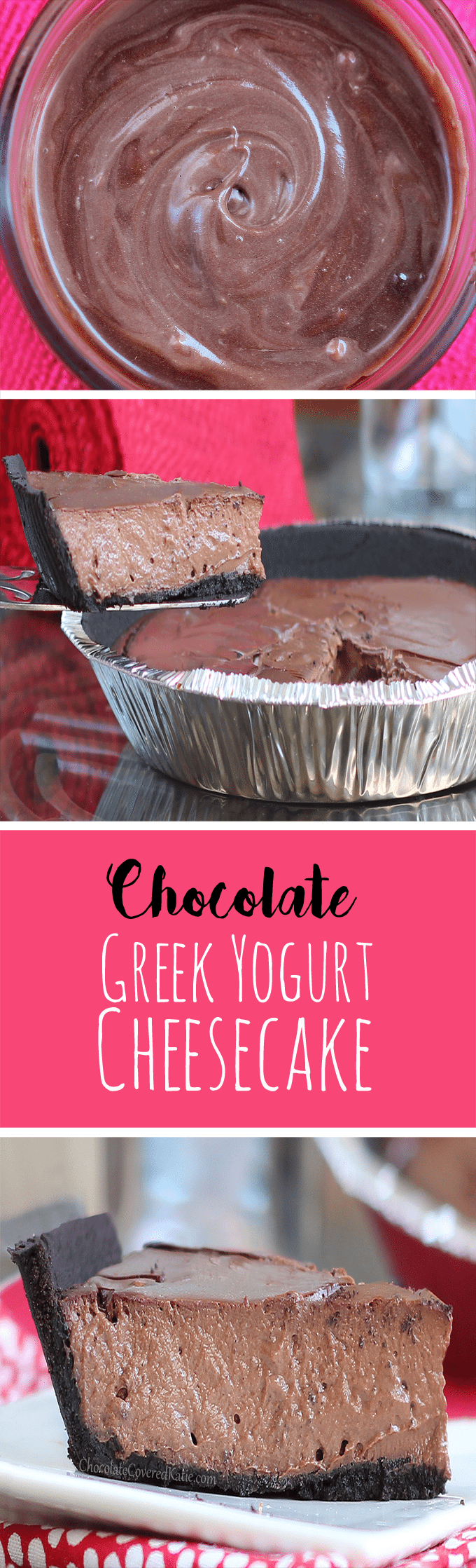 Chocolate Greek Yogurt Pie - Ingredients: 2 cups greek yogurt, 1/2 cup cocoa powder, 1 1/2 tsp vanilla extract, 1/4 cup... Full recipe: @choccoveredkt https://chocolatecoveredkatie.com/2013/07/26/chocolate-greek-yogurt-pie/