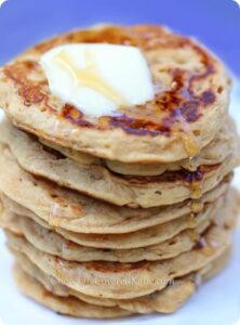 Oatmeal Pancakes - 1/3 cup rolled oats, 1 cup milk of choice, 2 tsp vanilla extract, 1 tsp baking powder, 2 1/2 tsp... Full recipe: http://chocolatecoveredkatie.com/2013/09/05/oatmeal-pancakes/ @choccoveredkt