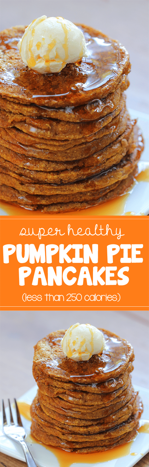 Super light & fluffy pumpkin pancakes from @choccoveredkt... for less than 250 calories. Full recipe: https://chocolatecoveredkatie.com/2013/11/17/pumpkin-pancakes/