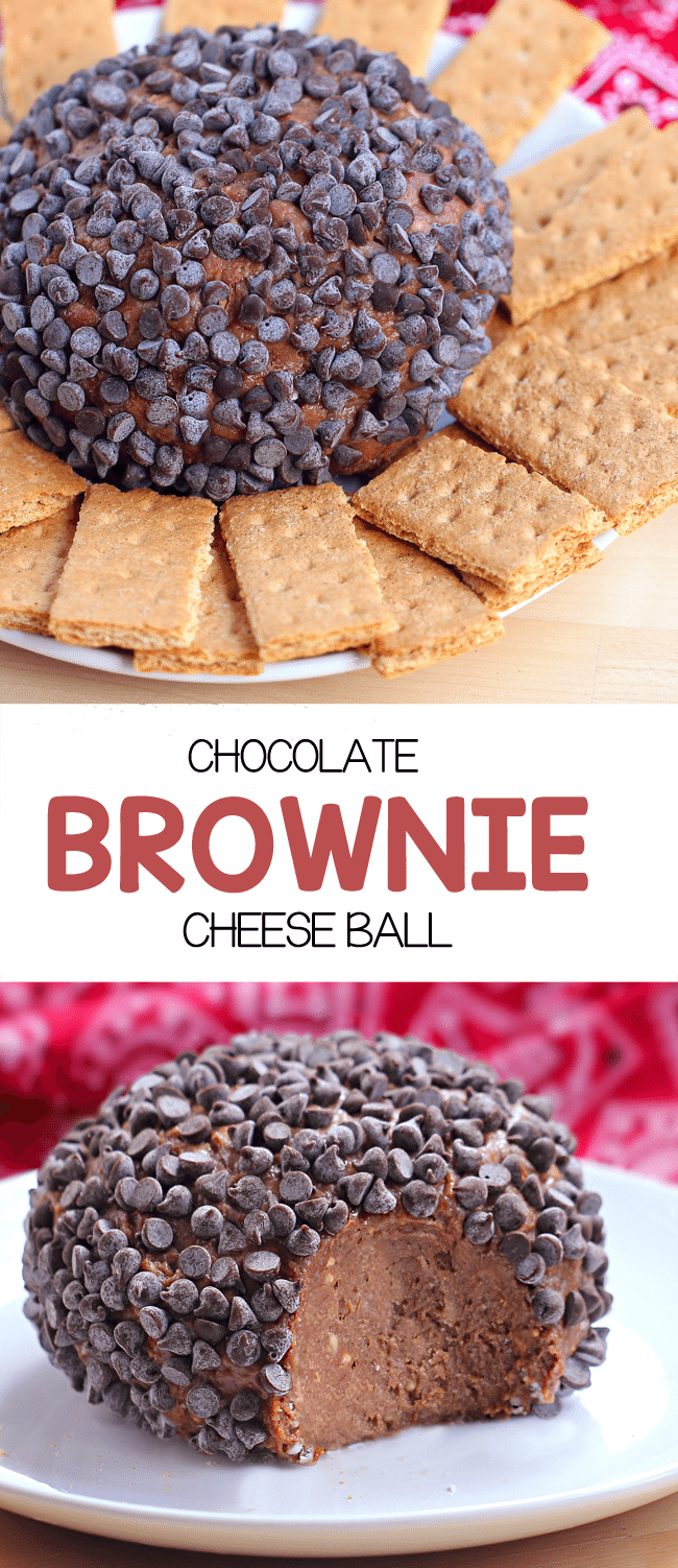 Chocolate Brownie Cheese Ball - This was so EASY, just throw 5 ingredients together and you have dessert - it literally tasted like a giant ball of chocolate cheesecake! ... @choccoveredkt https://chocolatecoveredkatie.com/2014/06/16/chocolate-brownie-cheesecake-ball/