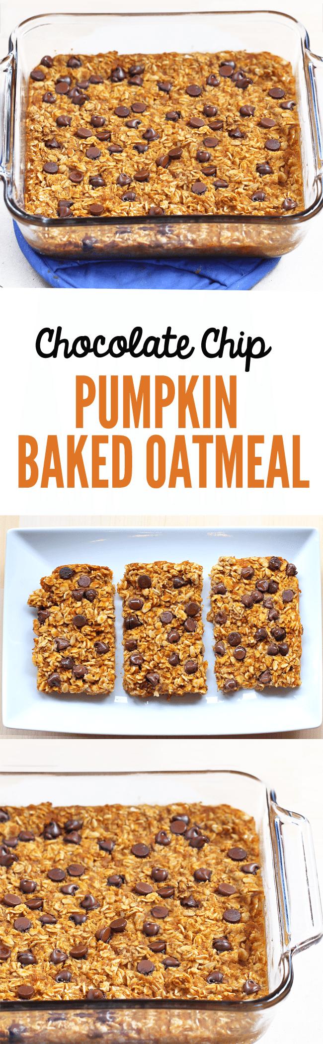 Pumpkin Baked Oatmeal - 2 cups oats, 1 cup pumpkin, 1 tsp cinnamon, 2 tsp vanilla, 1 1/2 cups... Full recipe: https://chocolatecoveredkatie.com/2014/11/13/pumpkin-baked-oatmeal/ @choccoveredkt