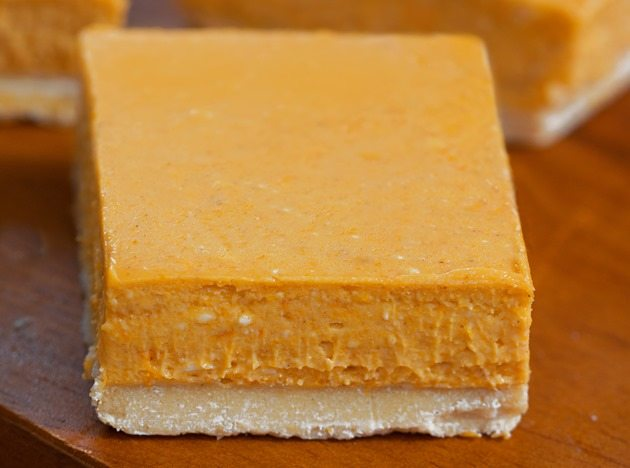 Easy-to-make pumpkin cheesecake bars from @choccoveredkt... like the lovechild of cheesecake and pumpkin pie! What's not to LOVE?! Full recipe: http://chocolatecoveredkatie.com/2015/09/14/pumpkin-cheesecake-bars/