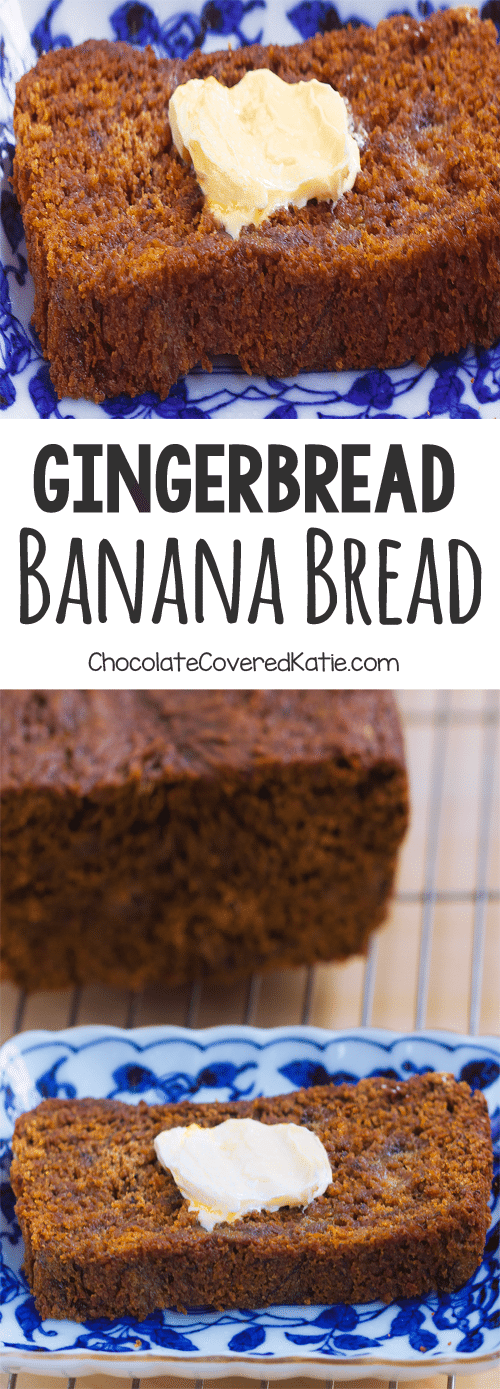 Gingerbread Banana Bread - A super healthy and delicious homemade breakfast recipe: 1 1/2 cup mashed banana, 2 tsp cinnamon, 1/2 tsp cloves, 1/4 cup... Full Recipe: https://chocolatecoveredkatie.com/2015/12/07/gingerbread-banana-bread/