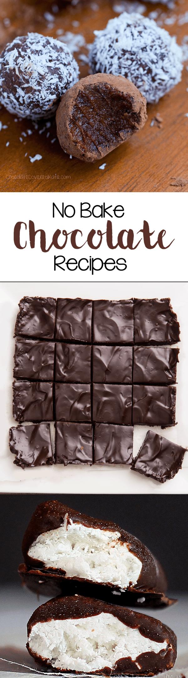 "NO BAKE RECIPES - 50 easy chocolate ""no bake"" treats, including no bake cookies ▪ no bake bars ▪ no bake desserts...from @choccoveredkt - http://chocolatecoveredkatie.com/2016/02/11/no-bake-chocolate-recipes-healthy-easy/"