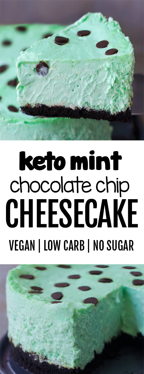 LOW CARB Keto Mint Chocolate Chip Cheesecake