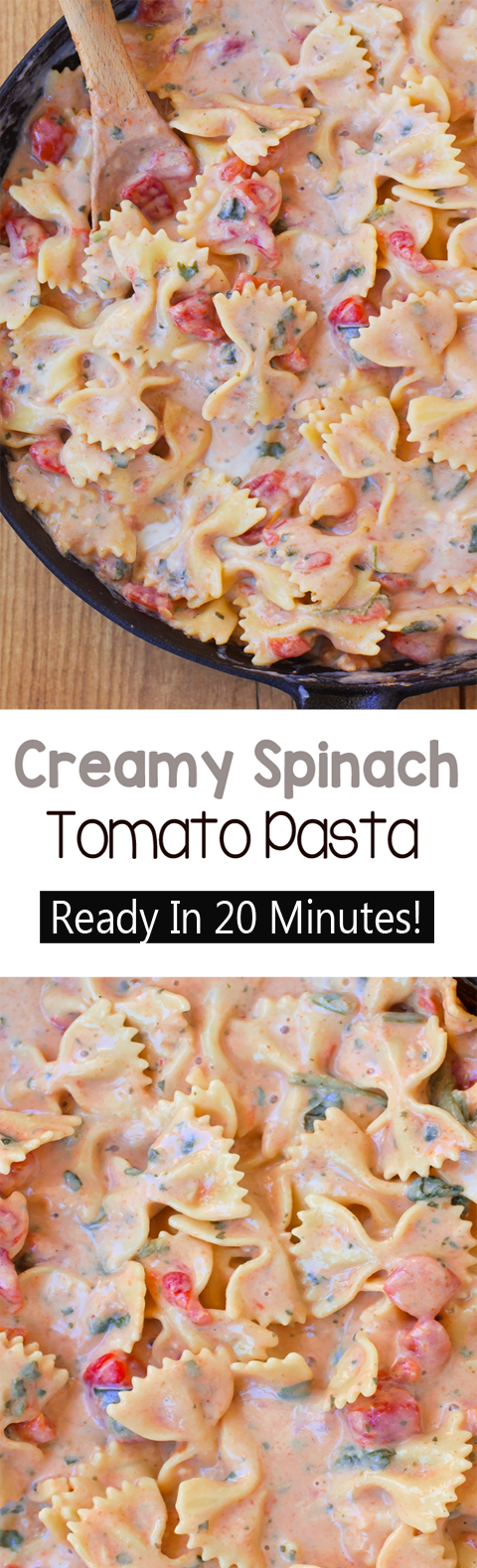 Easy Creamy Spinach Tomato Pasta (Ready In 20 Minutes)