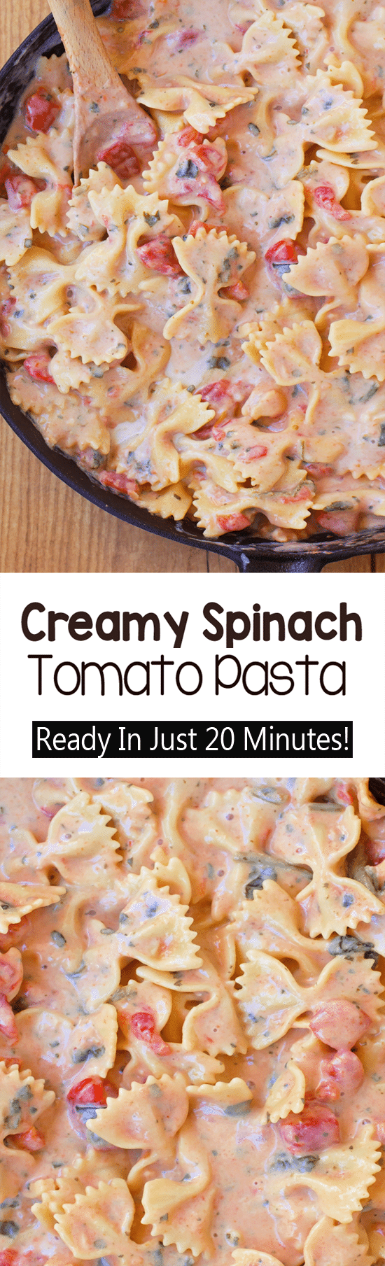 Super Creamy One Pot Spinach Tomato Pasta Recipe