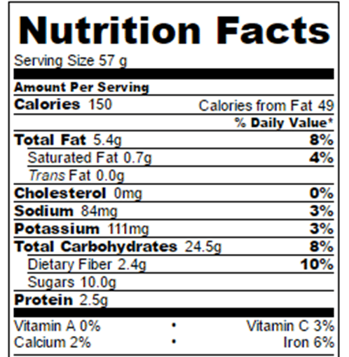 Blueberry Donuts Nutrition Facts
