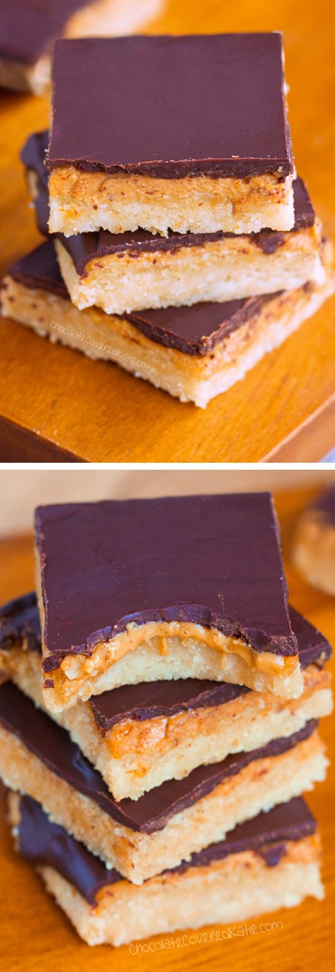 "Creamy peanut butter ""tagalong"" bars - Just like your favorite girl scout cookies, but WAY better because they are bars instead of cookies! @choccoveredkt http://chocolatecoveredkatie.com/"
