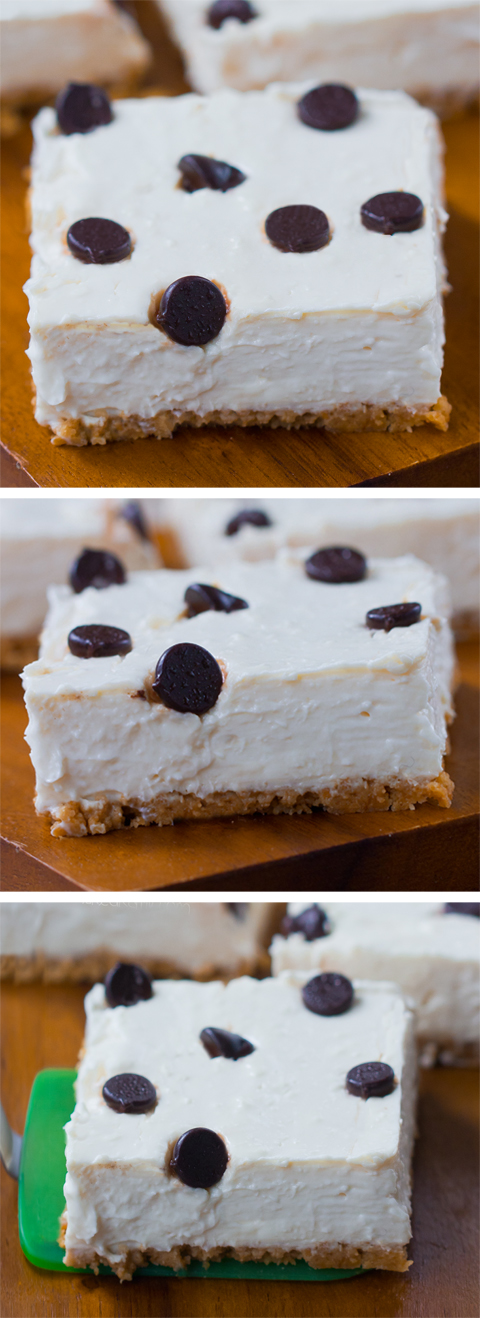 Skinny Chocolate Chip Cheesecake Bars, great for parties
