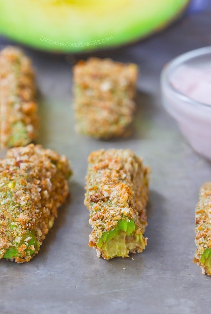 Avocado Fries – 5 ingredients, & SO addictive! … Next time, double the recipe: 2 avocados, 1/4 tsp garlic powder, 1/8 tsp salt, 1/2 cup... Full recipe >> http://chocolatecoveredkatie.com @choccoveredkt
