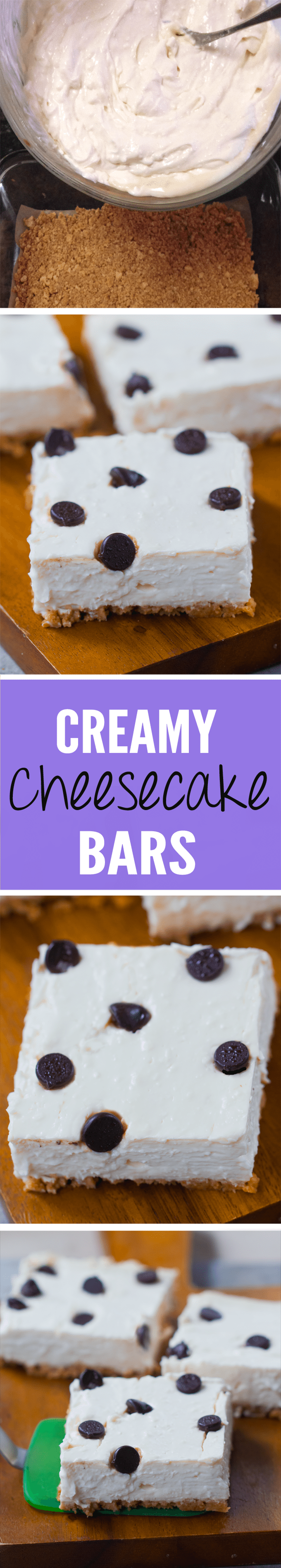 Creamy Chocolate Chip Cheesecake Bars - Ingredients: 12 oz cream cheese, 1 cup yogurt, 2 tsp pure vanilla extract, 1 tbsp lemon juice, 3/4 cup... Full recipe >> https://chocolatecoveredkatie.com @choccoveredkt