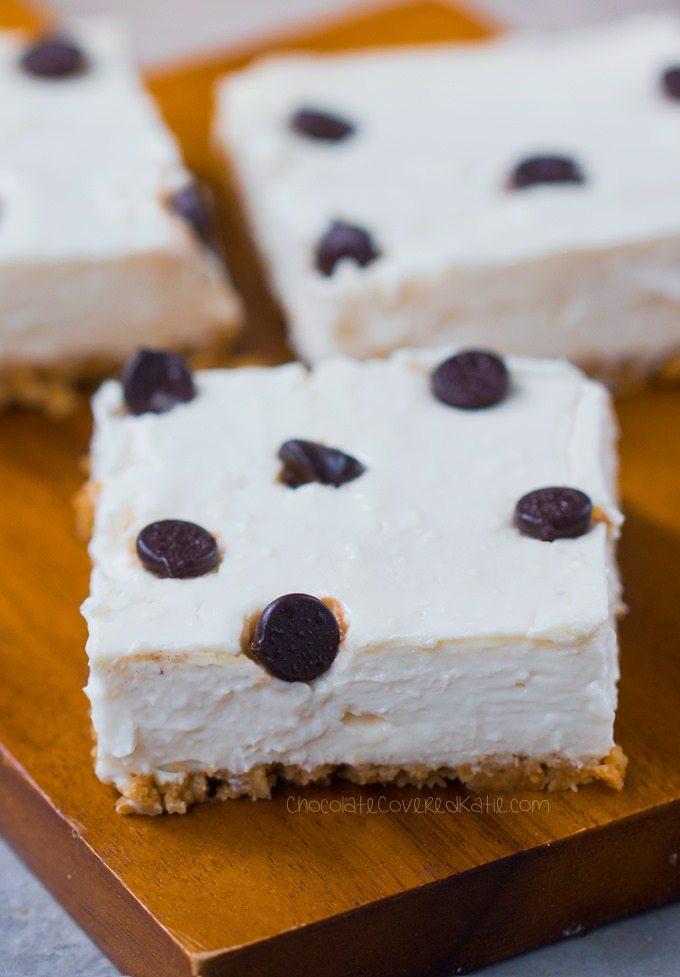 Creamy Chocolate Chip Cheesecake Bars - Ingredients: 12 oz cream cheese, 1 cup yogurt, 2 tsp pure vanilla extract, 1 tbsp lemon juice, 3/4 cup... Full recipe >> http://chocolatecoveredkatie.com @choccoveredkt