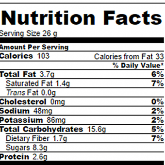 Cookie Dough Bars Nutrition Facts