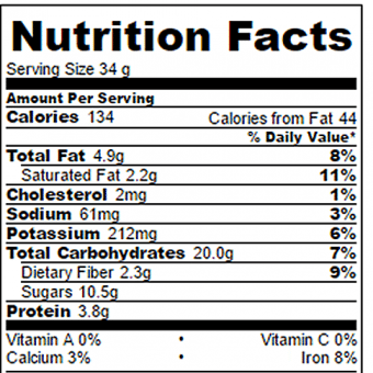 Chocolate Breakfast Bars Nutrition Facts