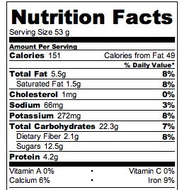 Flourless Cookie Dough Nutrition Facts