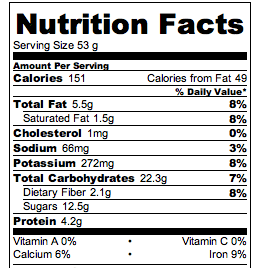 Flourless Cookie Dough Nutrition Facts
