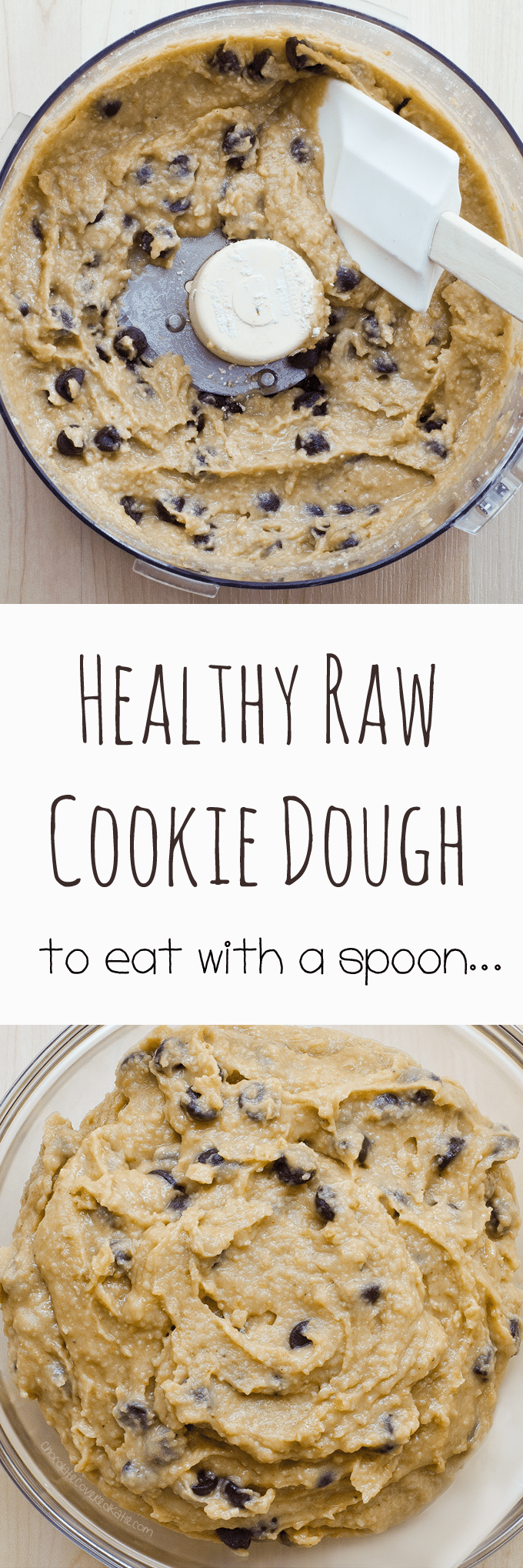 Raw Cookie Dough - Ingredients: 1/2 cup quick oats, 1/3 cup chocolate chips, 2 tsp vanilla extract, 1/4 cup ... Full recipe: https://chocolatecoveredkatie.com/2016/07/11/raw-cookie-dough-recipe/