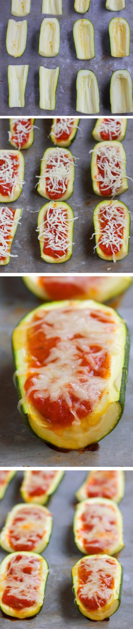 Zucchini Pizza Boats - Addictively cheesy baked zucchini, easy to make & kid-friendly. Full recipe: http://chocolatecoveredkatie.com/2016/07/21/zucchini-pizza-boats-healthy-snack/ @choccoveredkt