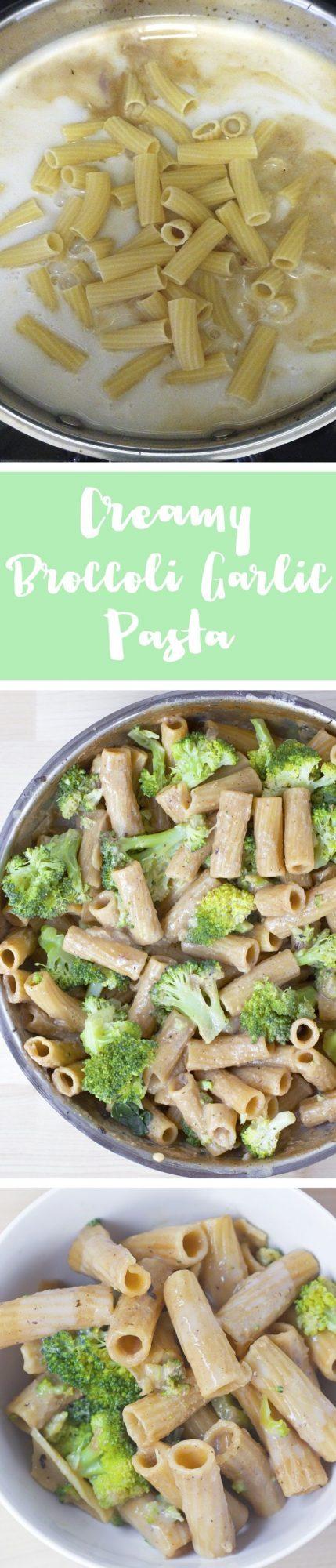 Garlic Pasta - Ingredients: 3 cups broccoli, 2 tbsp minced garlic, 2 1/2 tsp... Full recipe: http://chocolatecoveredkatie.com/2016/08/15/garlic-pasta-broccoli-vegan/ @choccoveredkt