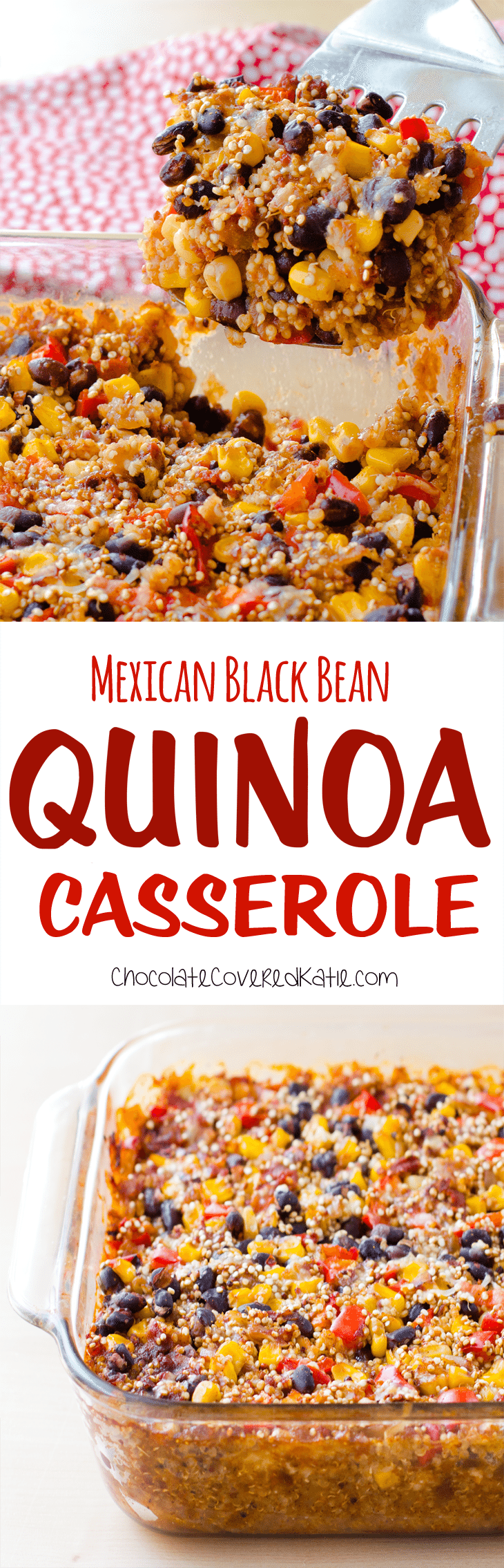 Super easy to make & healthy quinoa casserole, just mix the ingredients together and throw it in the oven! Full recipe: https://chocolatecoveredkatie.com/2016/09/19/quinoa-casserole-mexican-black-bean/ @choccoveredkt