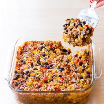 Cheesy Mexican Black Bean Quinoa Casserole