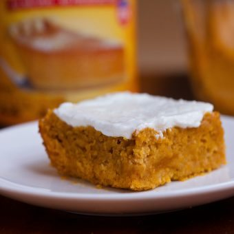 Pumpkin Snack Cake – With Maple Greek Yogurt Frosting