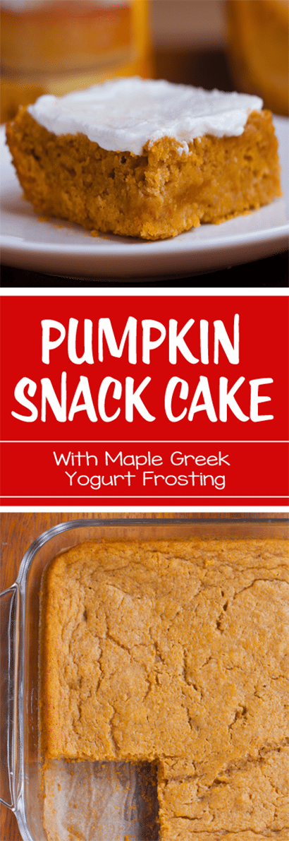 Pumpkin Snack Cake - With Maple Greek Yogurt Frosting: Ingredients: 2 cups pumpkin, 1/2 tsp baking powder, 1 tbsp... Full recipe: http://chocolatecoveredkatie.com/2016/09/22/pumpkin-snack-cake-recipe/